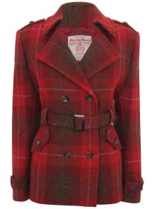 Red plaid double-breasted and belted jacket