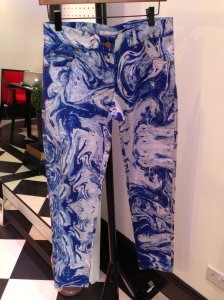 Great looking marbleised jeans in blue. Also available in pink and green