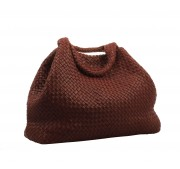 Hand woven nappa leather bag with dry rose red leather interior.