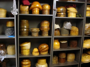 A multitude of hat forms used in hat making
