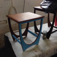 A client  commissioned these set of nested tables to be painted and refinished