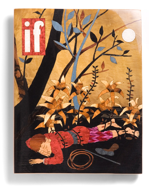 If  Science Fiction 2011 | Marquetry on carved wood. Lacquered