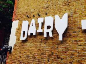 Entrance to the Dairy Arts Centre, used originally as a milk dairy