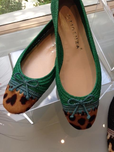raffia ballerina flats trimmed with leopard printed fur